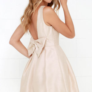 Bow Me a Kiss Beige Backless Dress - $62