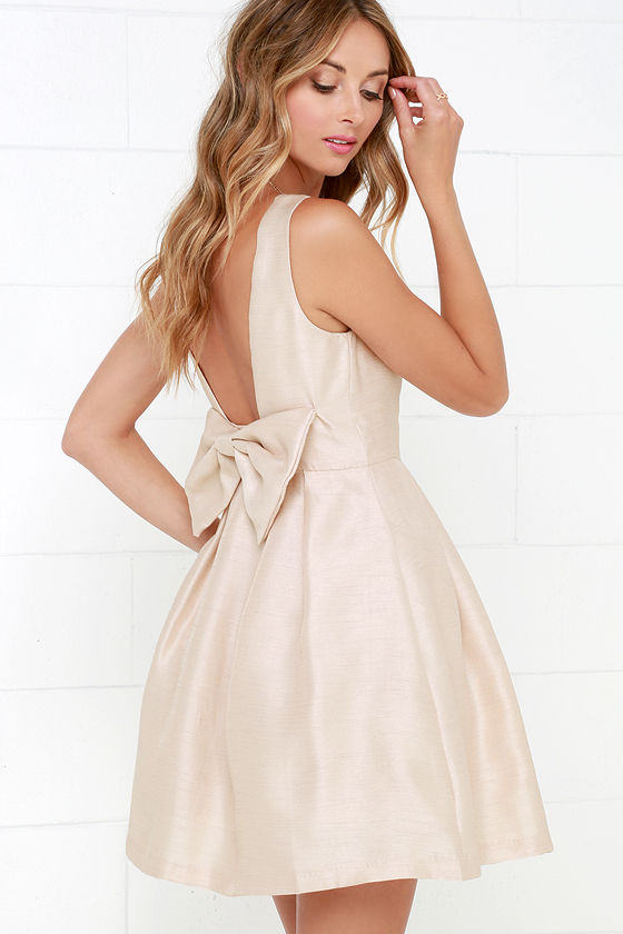 Backless Dress with Bow