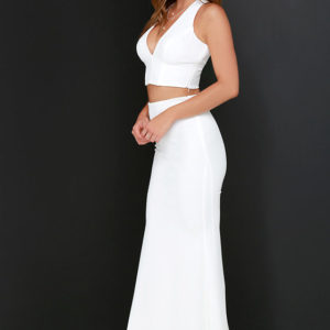 Flutterby Ivory Two Piece Maxi Dress - $119