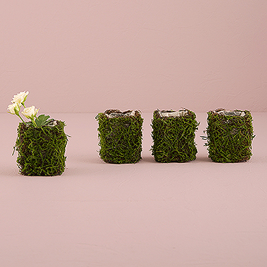 Faux Moss And Wicker Mini Favor Planter With Liner