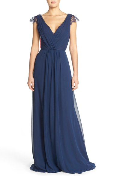 Lace & Chiffon Cap Sleeve Gown