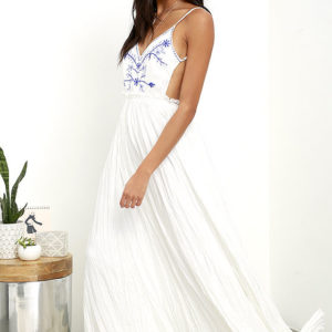 Lulu - Something to Sprout About Ivory Embroidered Maxi Dress