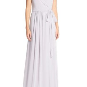 'Newbury' Gathered Sleeve Chiffon Wrap Gown