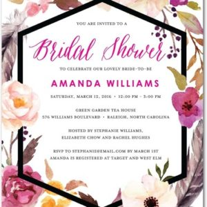 flowery_circlet-signature_white_textured_bridal_shower_invitations-good_on_paper-fuchsia-pink