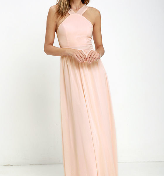 lulu - Air of Romance Peach Maxi Dress