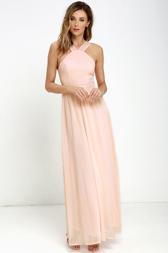 Air of Romance Peach Maxi Dress - It Started With Yes!