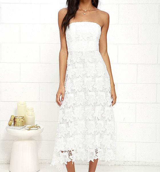 lulu - BB Dakota Eleanor Ivory Lace Strapless Midi Dress