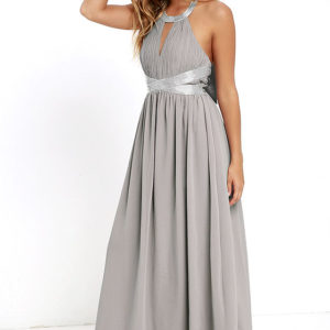 lulu - Days Gown By Grey Beaded Maxi Dress