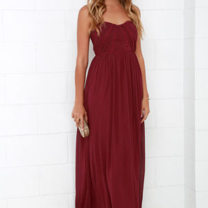 lulu - Draw Her In Burgundy Strapless Maxi Dress