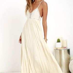 lulu - Hippie Hippie Chic Cream Maxi Dress