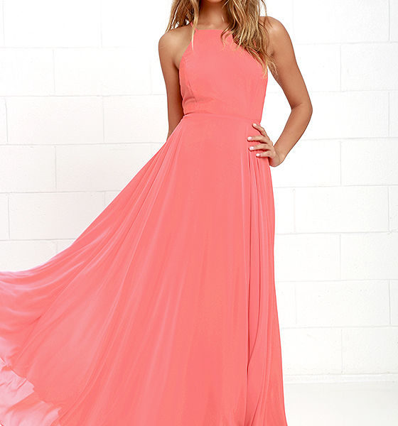 lulu - Mythical Kind of Love Coral Pink Maxi Dres