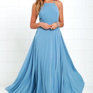 lulu - Mythical Kind of Love Slate Blue Maxi Dress