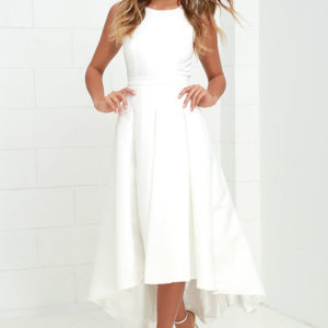 lulu - Paso Doble Take Ivory High-Low Dress