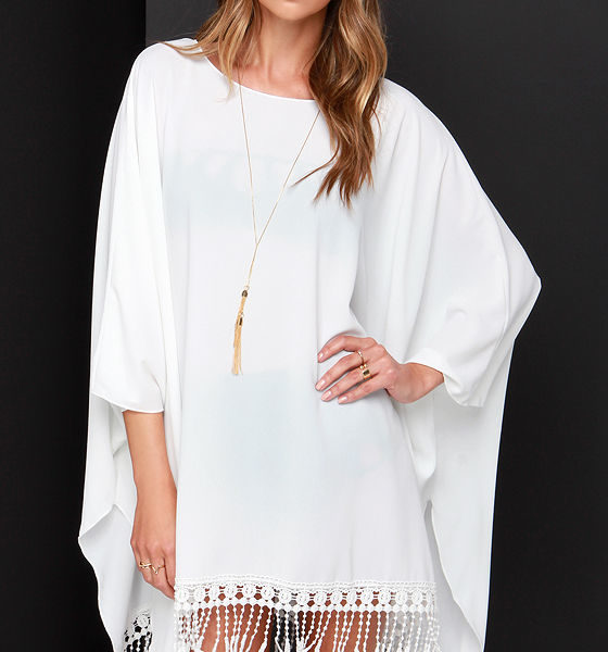 lulu - To the Hills Ivory Crochet Cover-Up