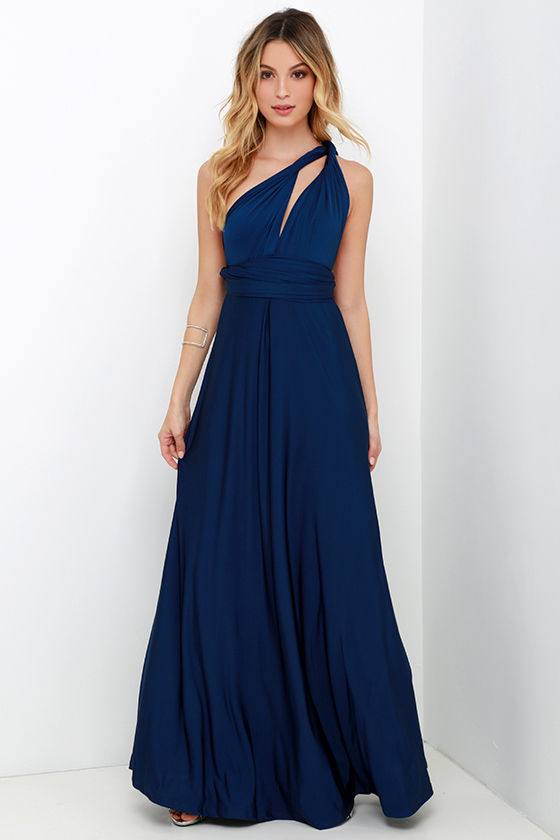 Always Stunning Convertible Navy Blue Maxi Dress - It Started With Yes!