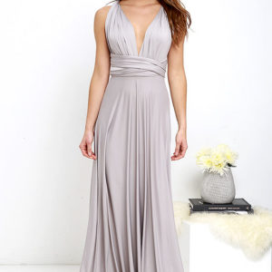 All the Sway Convertible Light Grey Maxi Dress