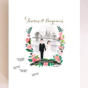 Custom Couple Illustration Wedding Guest Book