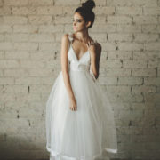 Deep V Neck Tiered Tulle Wedding Dress