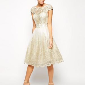 Metallic Lace Midi Dress with Bardot Neck