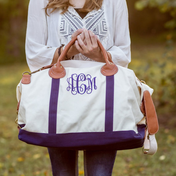Personalized Bridesmaids Weekender Canvas Duffle
