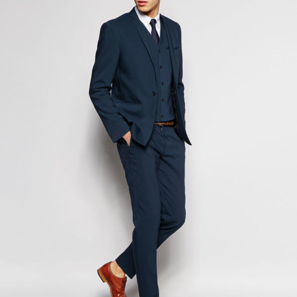Skinny Suit With Contrast Back Trim