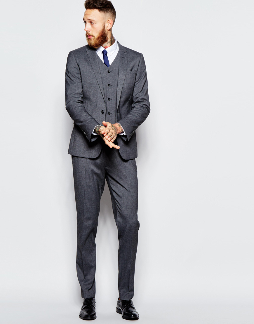Skinny Suit With Stretch In Charcoal - It Started With Yes!