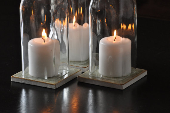 Square Olive Oil Bottle Candle Holder Centerpieces