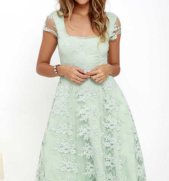 Sunny Feeling Sage Green Lace Midi Dress