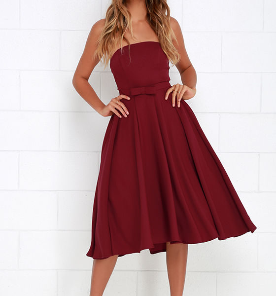 Time is Right Wine Red Strapless Midi Dress