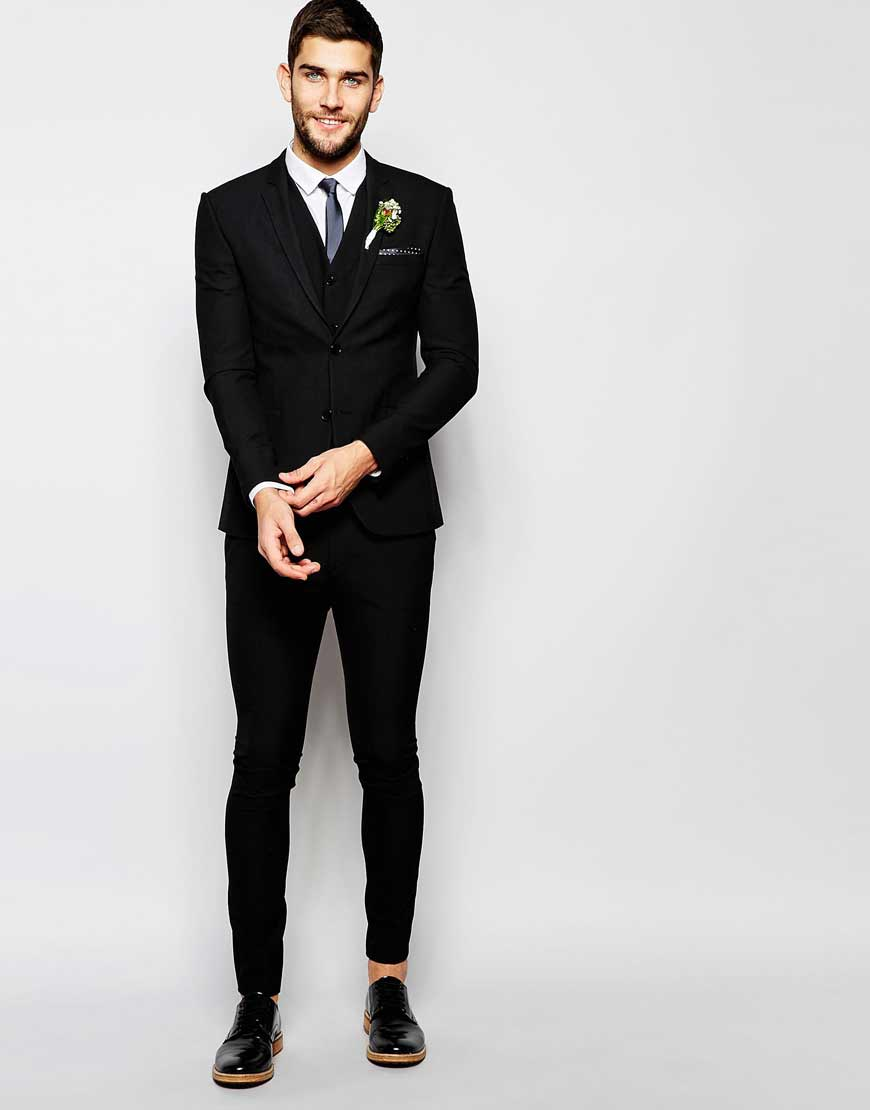 Wedding Super Skinny Fit Suit In Black - It Started With Yes!
