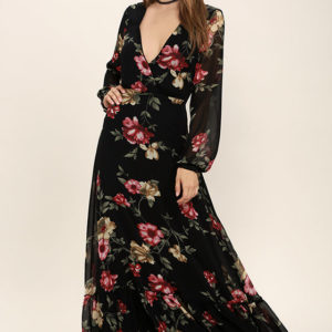 CHATEAU DE VERSAILLES BLACK FLORAL PRINT MAXI DRESS