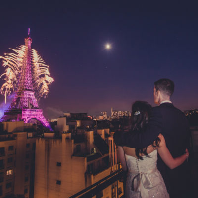 Vintage Rooftop Elopement with Fireworks in Paris