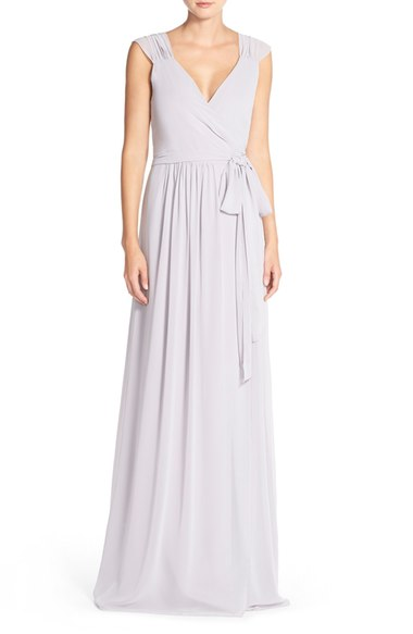 Newbury Gathered Sleeve Chiffon Wrap Gown It Started