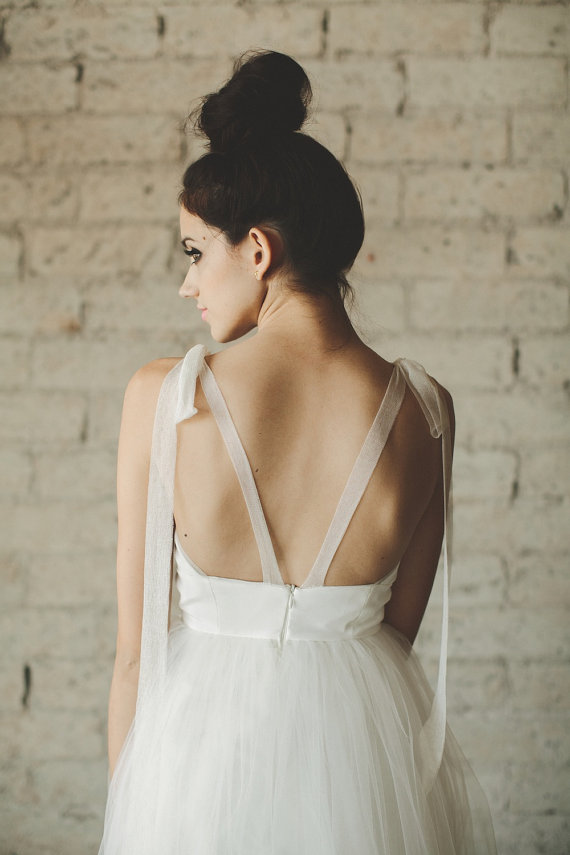 Deep V Neck Tiered Tulle Wedding Dress It Started With Yes
